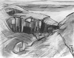 Cliff Drawing 1, Isle of Muck : charcoal and graphite,