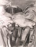Cliff Drawing 3, Isle of Muck: charcoal and graphite
